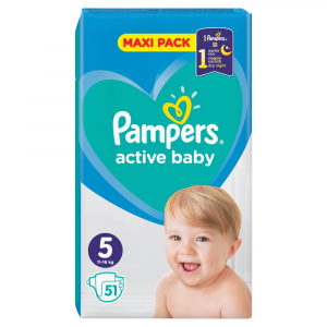 PAMPERS Active Baby Velikost 5, 51 Plenek, 11-16 kg