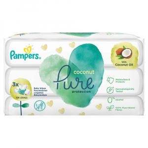 PAMPERS Coconut Pure Dětské čisticí ubrousky 3x 42 ks