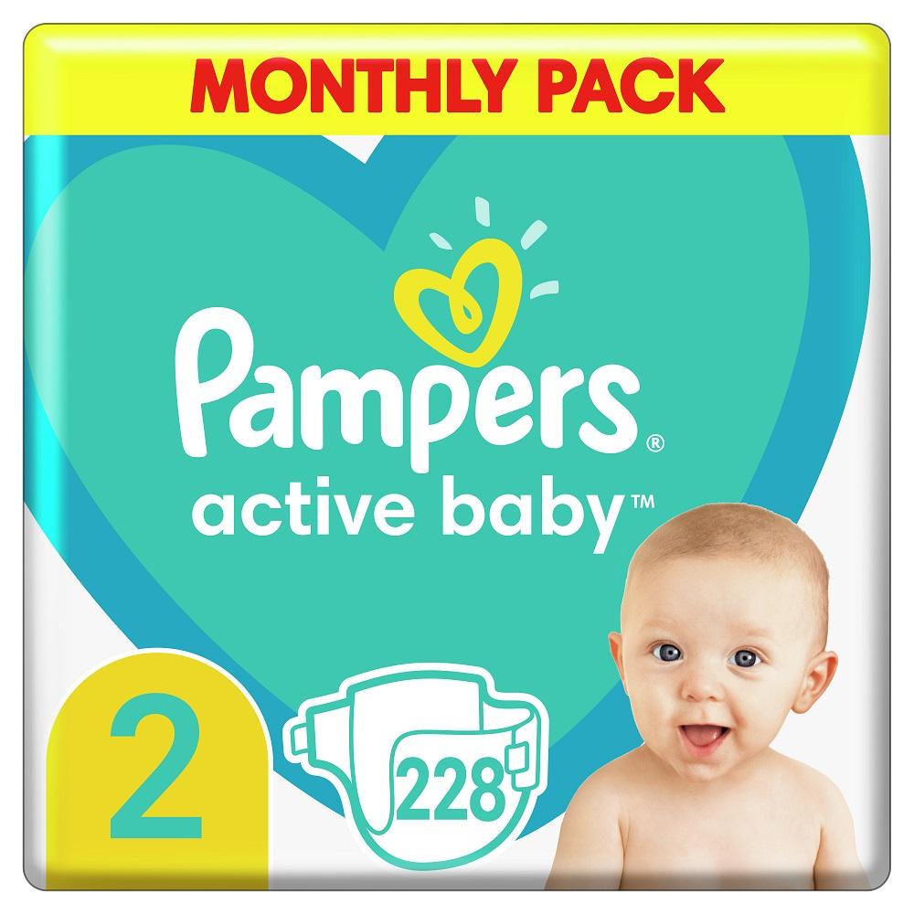 PAMPERS New Baby vel.2 Dětské plenky 3-6kg 228 ks