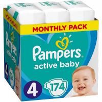 PAMPERS Active Baby měsíční balení vel.4, 9 – 14 kg 174 ks