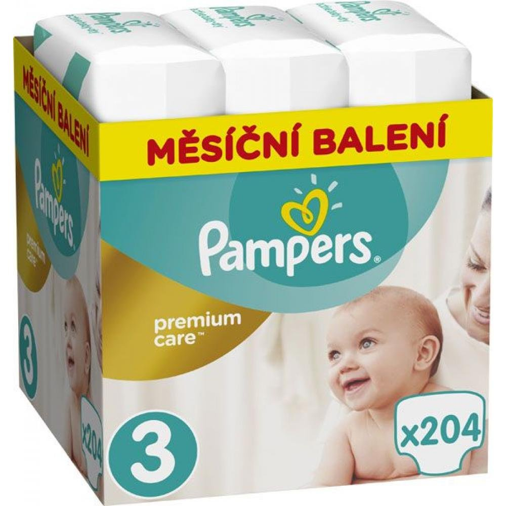 PAMPERS Premium Care Monthly 3 MIDI 5-9 kg 204 kusů Pampers