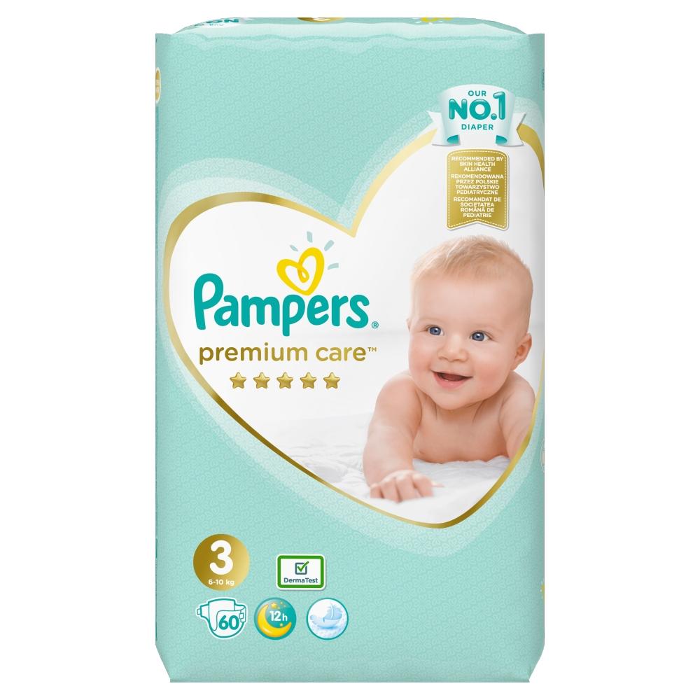 PAMPERS Premium Care 3 MIDI 4-9 kg 60 kusů + Dárek PAMPERS Vlhčené ubrousky Sensitive 56 kusů ZDARMA Pampers