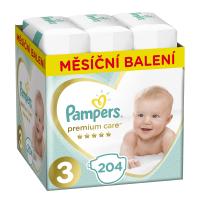 PAMPERS Premium care měsíční balení 3 MIDI 6-10 kg 204 kusů