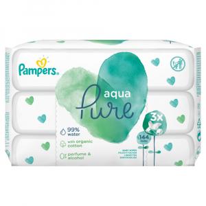 PAMPERS Aqua Pure Dětské čistící ubrousky 3x48ks  144 ks