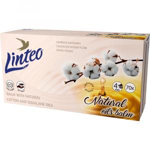LINTEO Papírové kapesníky 4-vrstvé Balzám+olej BOX 70 ks