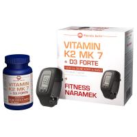 PHARMA ACTIV Vitamín K2 MK 7 + D3 Forte 125 tablet + FITNESS náramek s krokoměrem
