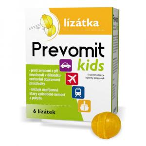 PREVOMIT Kids Lízátka proti zvracení a nevolnosti 6 ks