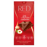 RED Mléčná čokoláda s makadamiovými a lískovými ořechy bez přidaného cukru 100 g
