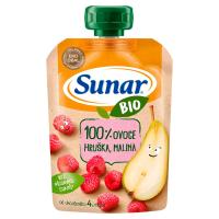 SUNAR Ovocná kapsička 100% ovoce Hruška a malina od 4.měsíce BIO 100 g