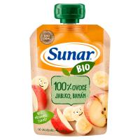 SUNAR Ovocná kapsička 100% ovoce Jablko a banán od 4.měsíce BIO 100 g