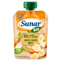 SUNAR Ovocná kapsička 100% ovoce Jablko, banán, mrkev od 4.měsíce BIO 100 g