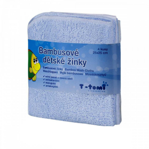 T-TOMI Bambusové dětské žínky Modré 4 ks