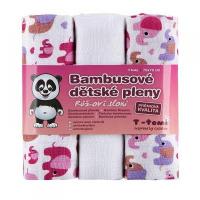 T-TOMI Bambusové pleny růžoví sloni sada 3 kusů