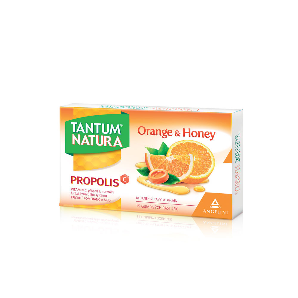 TANTUM NATURA Orange & Honey + zinek + vitamin C 15 gumových pastilek