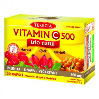 TEREZIA Vitamin C 500mg TRIO NATUR 60 kapslí
