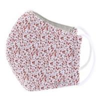 TNG Rouška textilní 3-vrstvá červená kytička velikost S 5 kusů
