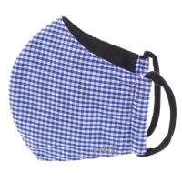 TNG Rouška textilní 3-vrstvá kostkovaný modro-bílý vzor velikost S 1 kus