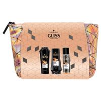 GLISS KUR Dárkové balení pro velmi poškozené vlasy v taštičce šampon, balzám, expres balzám 250 ml + 200 ml + 200 ml
