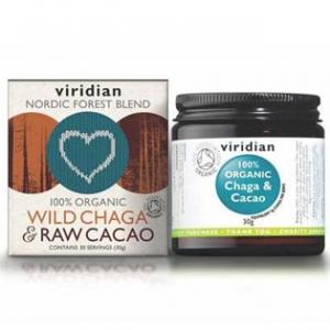 VIRIDIAN Nutrition Organic Wild Chaga & Raw Cacao 30 g