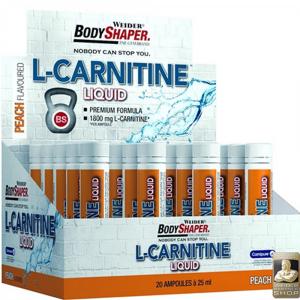 WEIDER L-Carnitine Liquid koncentrát spalovač tuku Peach ampule 25 ml