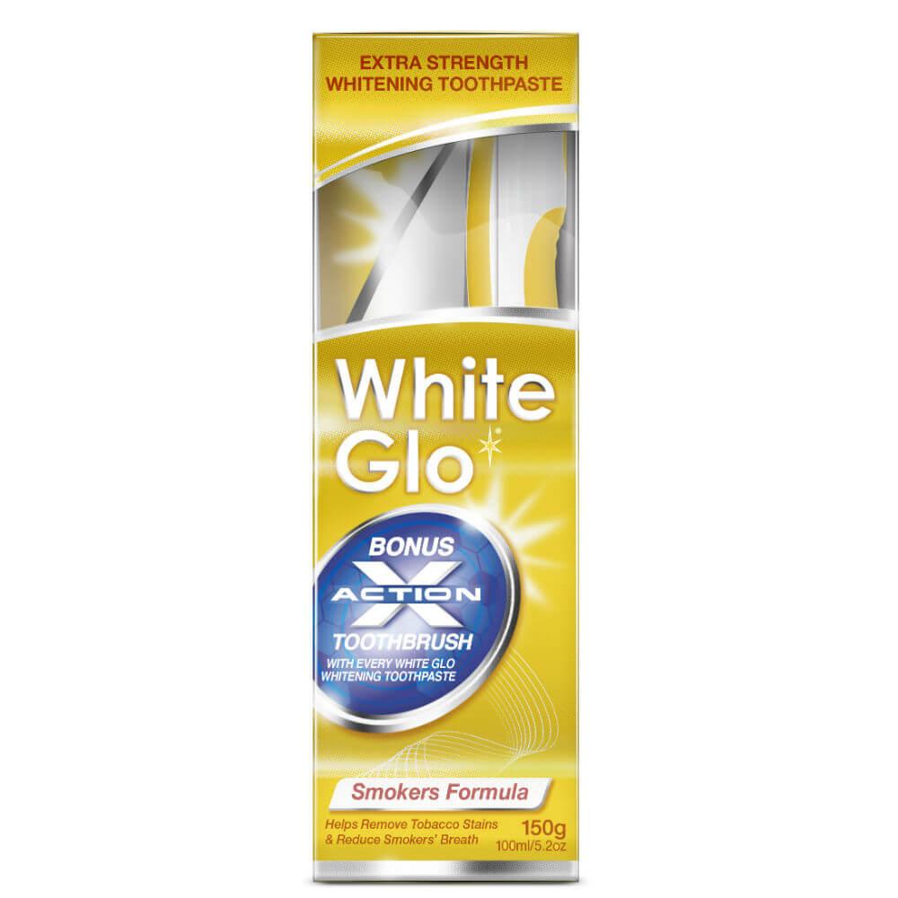 WHITE GLO Smokers zubní pasta pro kuřáky 150 g + kartáček na zuby a mezizubní kartáčky