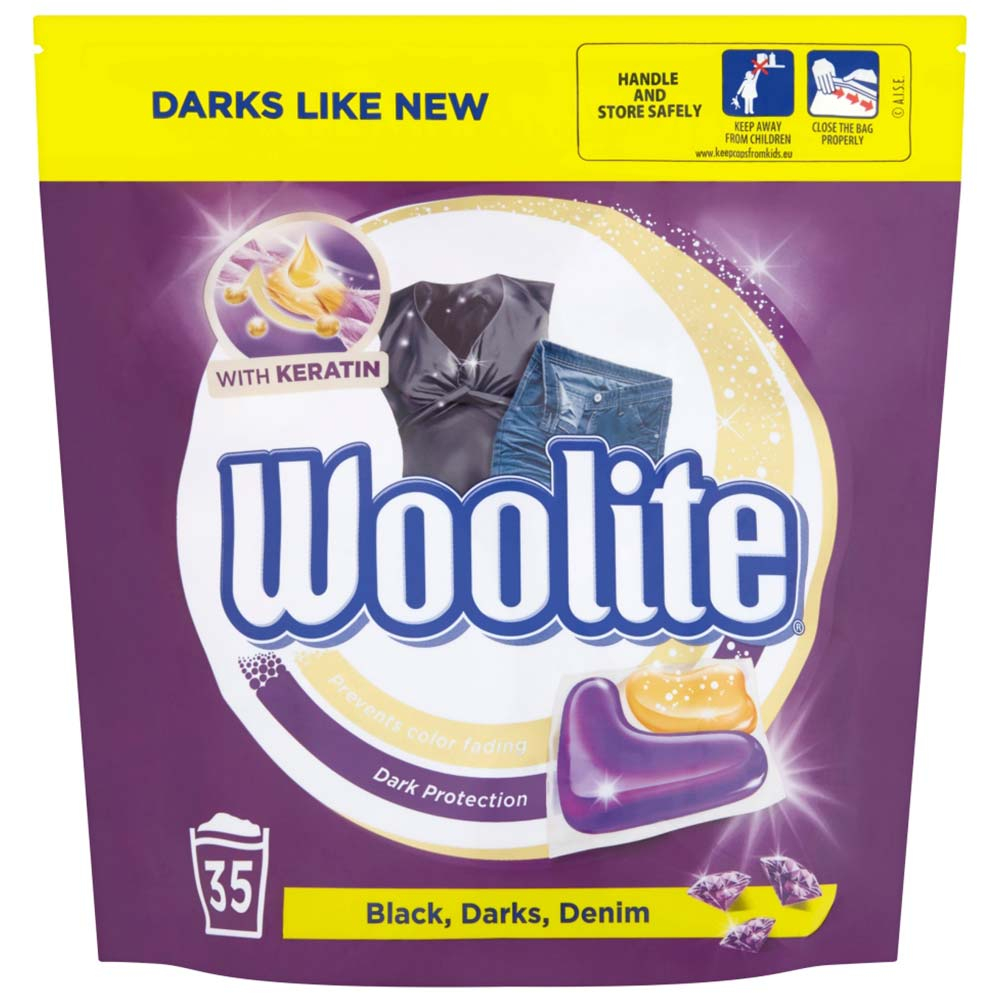 WOOLITE Black Darks Denim gelové kapsle na praní 35 ks