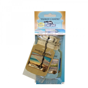 YANKEE CANDLE Car Jar Papírová visačka Sun&Sand, Beachwalk, Island Spa 3ks