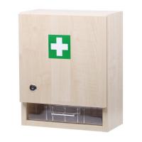 ZM10 LÉKÁRNIČKA Nástěnná dřevěná s náplní zdravotnického materiálu do10 osob
